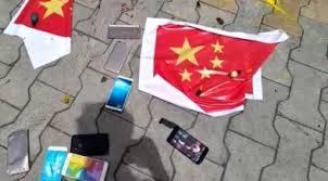 पुण्यामध्ये चिनी वस्तूंची तोडफोड