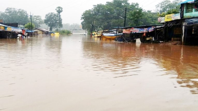 पर्लकोटा नदीने उलटली धोक्याची पातळी, भामरागडमध्ये शेकडो घरे पाण्याखाली