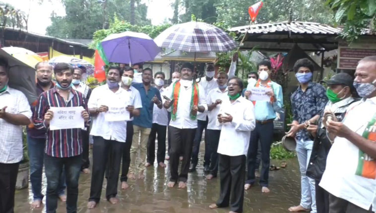 भिवंडीतील विविध मंदिरांबाहेर भाजपचे घंटानाद आंदोलन