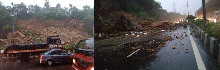 मुंबईत पश्चिम द्रुतगती महामार्गावर दरड कोसळल्याने वाहतूक कोंडी, पावसामुळे रेल्वेसेवाही ठप्प