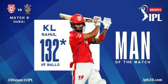IPL 2020 : राहुलच्या दमदार शतकाने RCB चा धुव्वा ; पंजाबचा ९७ धावांनी विजय