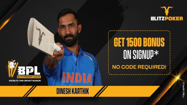 Indian cricketer Dinesh Karthik signs BlitzPoker deal for Blitz Premier League