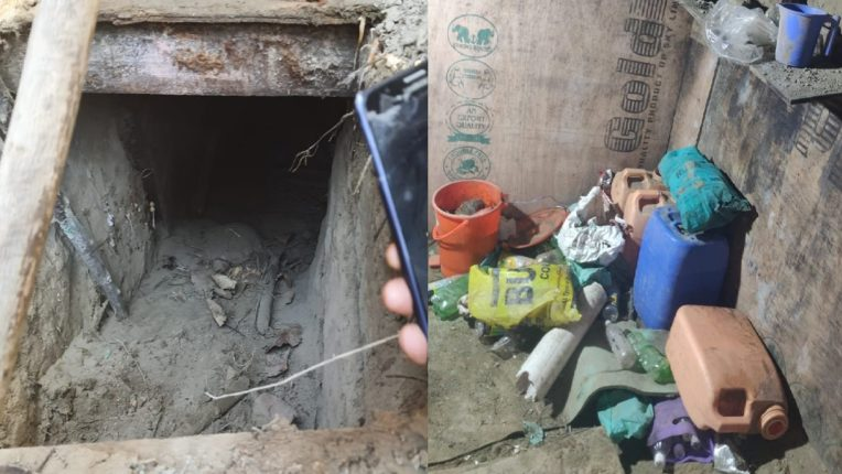 CRPF, busted & destroyed an underground hideout