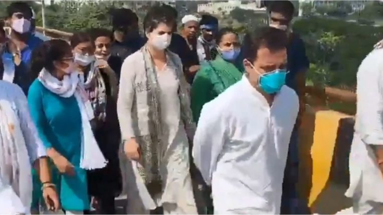 rahul priyanka left for hathras
