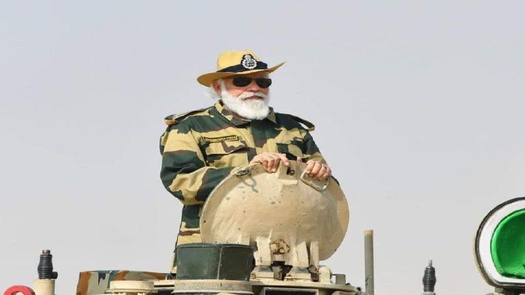 Prime Minister Narendra Modi spends Diwali with soldiers in Jaisalmer