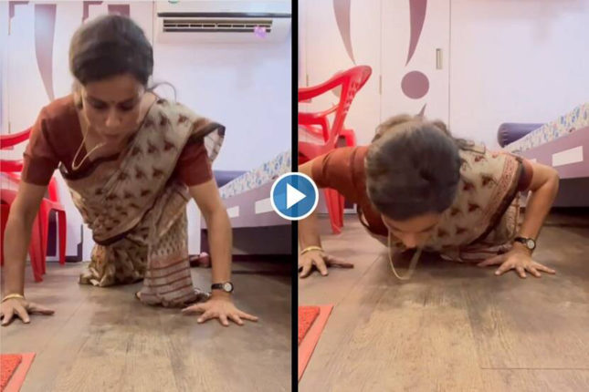 gul panag push ups on saree