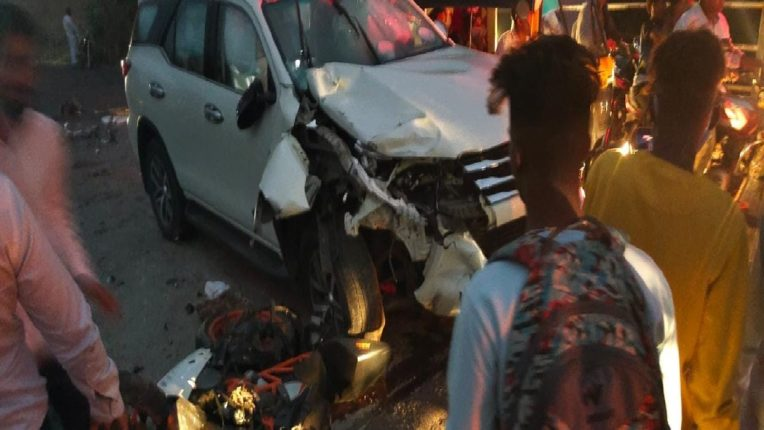A BJP MLA's cars tragic accident in which a two-wheeler driver was killed and a woman was seriously injured