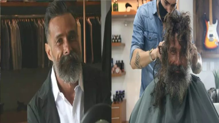 homeless man reuinted with family after they recognise him in photo barber done amazing job