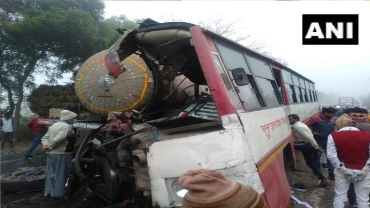 12 killed, 25 injured in bus-tanker accident
