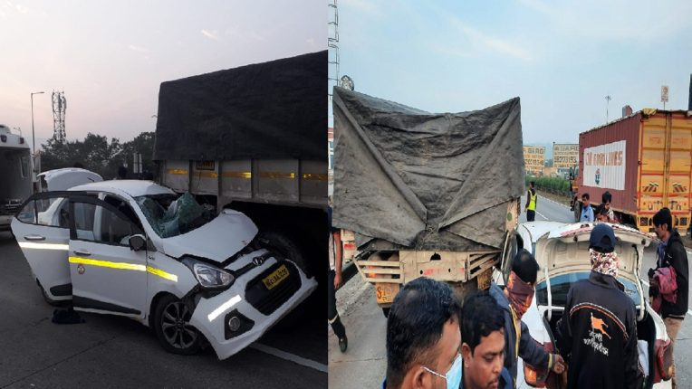 पुणे-मुंबई द्रूतगती मार्गावर कार आणि ट्रकचा भीषण अपघात, तीन प्रवासी जखमी