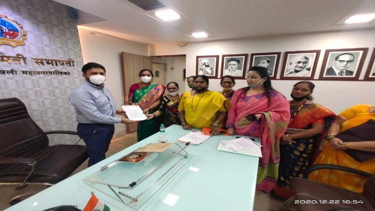 Kalyan Shiv Sena Womens Front ran to solve womens issues A statement has been issued to the Commissioner in this regard nrvb