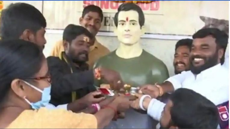 Helping hand in difficult times the temple of Sonu Sood erected as a sign of gratitude