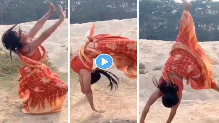 mili doing backflip in saree