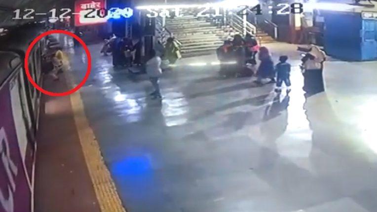... so don't catch a running locomotive; Thrilling CCTV footage of Mumbra railway station