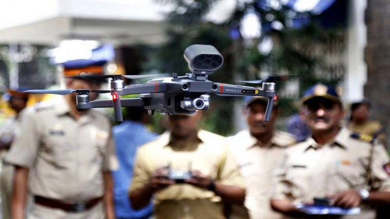 mumbai police using drone