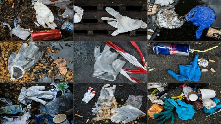 TOPSHOT - (COMBO) This combination of pictures created on March 29, 2020 shows latex plastic gloves littering among other waste the street in Paris on March 29, 2020, on the thirteenth day of a lockdown in France to stop the spread of the novel coronavirus, COVID-19. - Gloves and face masks are recommended to those venturing outside as it is believed to help curtail the spread of the virus. (Photos by JOEL SAGET / AFP) (Photo by JOEL SAGET/AFP via Getty Images)