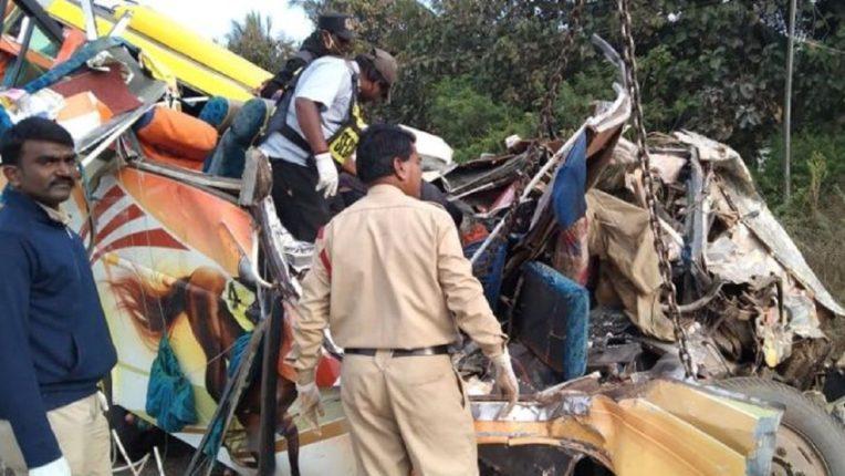 A tragic accident to a Tempo Traveler bound for Goa; Ten women killed on the spot