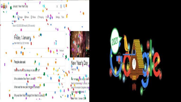 गुगलचं खास डुडल, नववर्षाच्या स्वागताला होतेय रंगांची उधळण