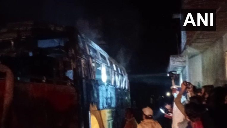 Six died and seven injured as a bus caught fire after coming in contact with electric wire in Maheshpur of Jalore district,