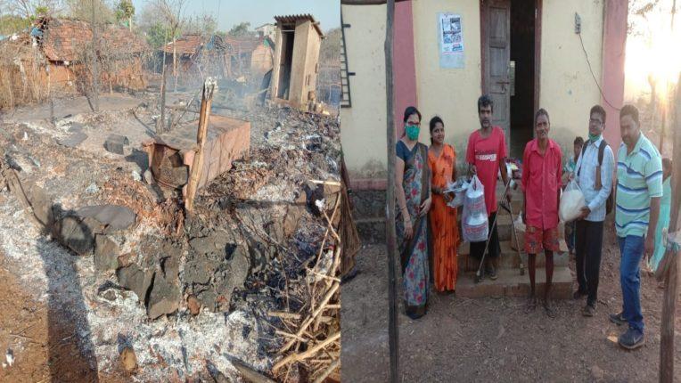 खर्डीत रान वणव्यात ३ घरे जळून खाक; वेळीच आगीवर नियंत्रण मिळवल्याने मोठा अनर्थ टळला
