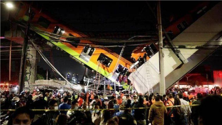 मेक्सिकोमध्ये मेट्रो ट्रेनसहित पूल कोसळला ; भीषण अपघातात २० जणांचा मृत्यू , घटना सीसीटीव्ही कॅमेऱ्यात कैद