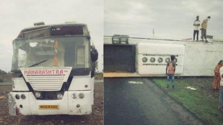 वाशिम जिल्ह्यात बसचा अपघात; नागपूर- मुंबई द्रुतगती मार्गावर लक्झरी बस उलटून एक ठार