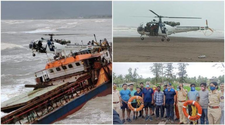 Barge sunk in the sea near Revdanda; Success in rescuing 16 sailors