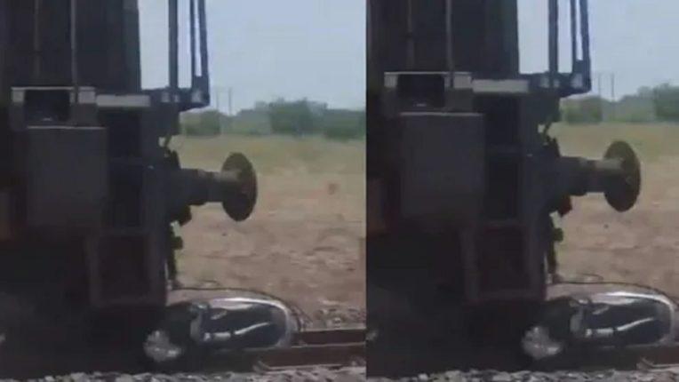 रेल्वे ट्रॅकवर करायला गेला बाइक स्टंट, ट्रेन आली आणि पुढे काय घडलं; पाहा VIDEO