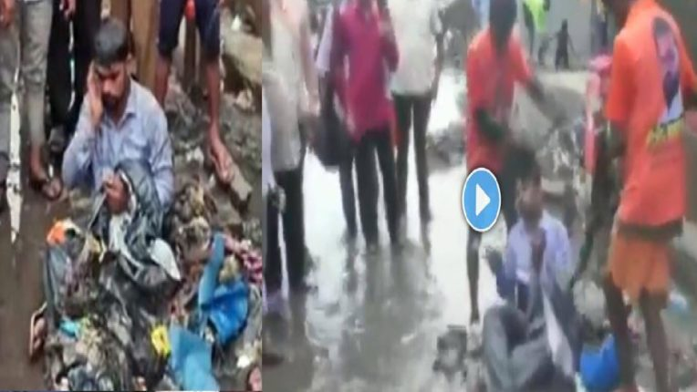 शिवसेना आमदाराने कंत्राटदाराला कचऱ्यानं घातली आंघोळ, रस्त्यावर साचलेला कचरा त्यांच्या अंगावर टाकला आणि व्हिडिओ व्हायरल…