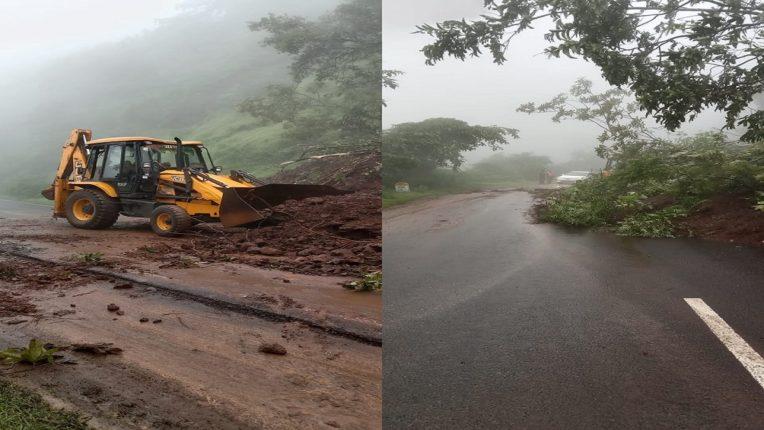 The pain in the mango grove collapsed; Traffic jam on Ratnagiri-Kolhapur highway