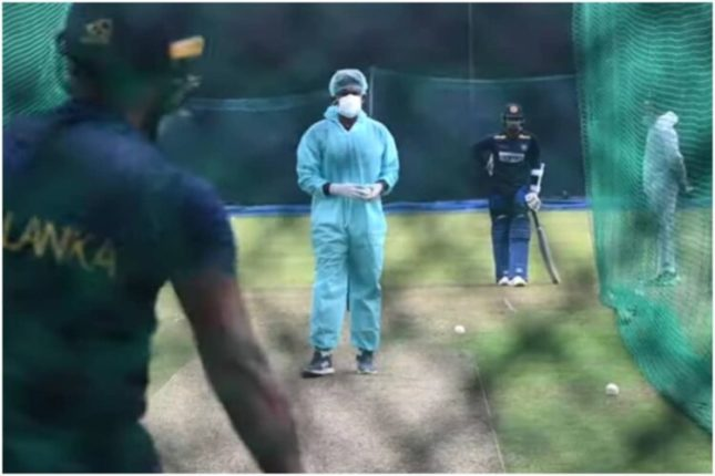 India-Sri Lanka ODI; Wearing PPE kit masks and gloves, he took to the field for practice