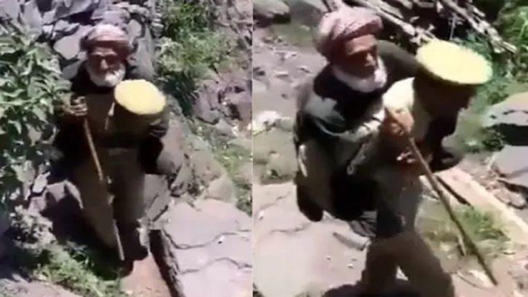 VIDEO : हा जवान वृद्धाला खांद्यावर उचलून घेऊन निघाला होता; कारण ऐकून तुमचीही छाती गर्वाने फुलून येईल