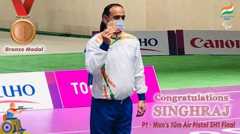 पुरूषांच्या १० मीटर एयर पिस्तुल मध्ये Singhraj Adhana ला कांस्य पदक जिंकले