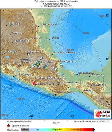 मेक्सिकोमध्ये भूकंपाचे तीव्र धक्के ; नागरिकांमध्ये भीतीचे वातावरण