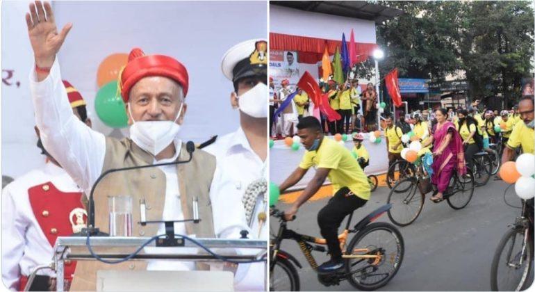 पंतप्रधान नरेंद्र मोदी यांच्या वाढदिवसानिमित्त 'पुणे ऑन पेडल्स सायकल रॅली'चे आयोजन, राज्यपालांनी दाखवला हिरवा झेंडा