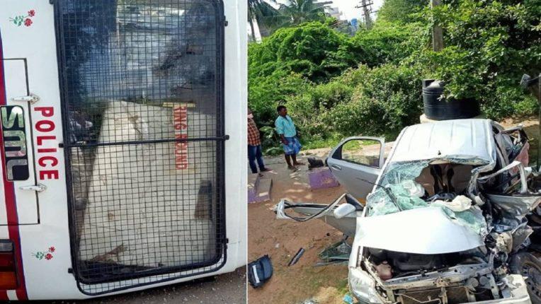 पोलीस वाहन आणि कारची जोरदार धडक ; ११ जखमी तर एकाचा मृत्यू
