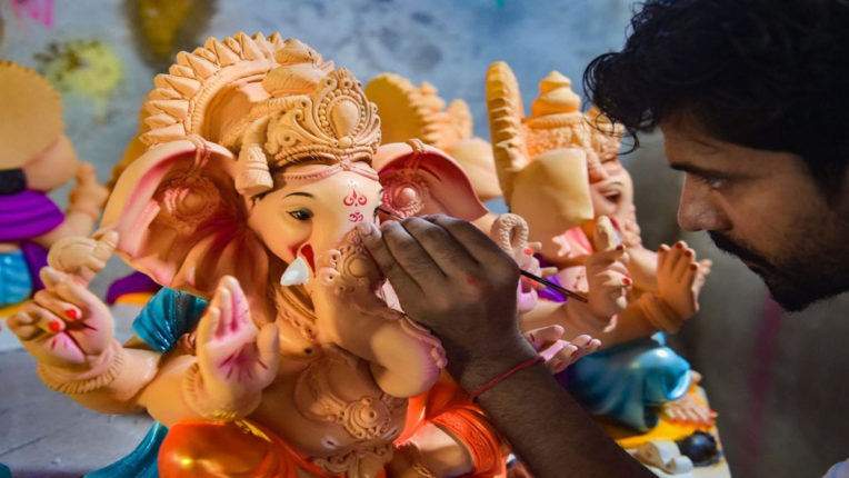 ganesh idol in final stage