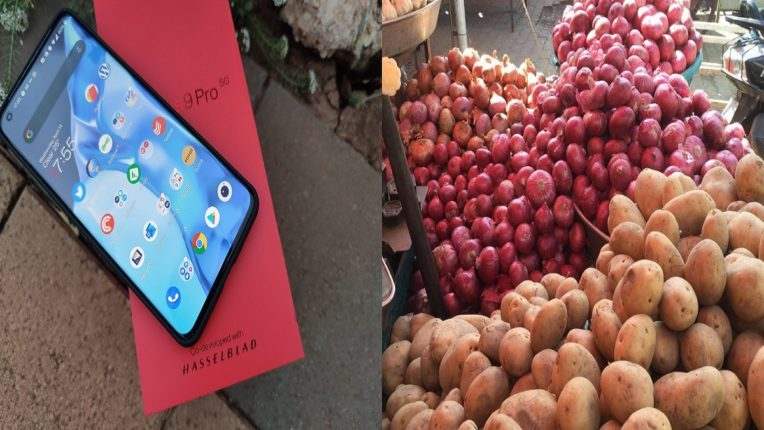 One Plus-9 Pro Mobile ordered online; Onions, potatoes in parcels