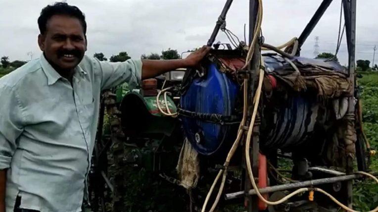 शेतकऱ्यांने केलाय 'असा' जुगाड हे यंत्र; २० मिनिटांत दोन एकर शेतीची फवारणी