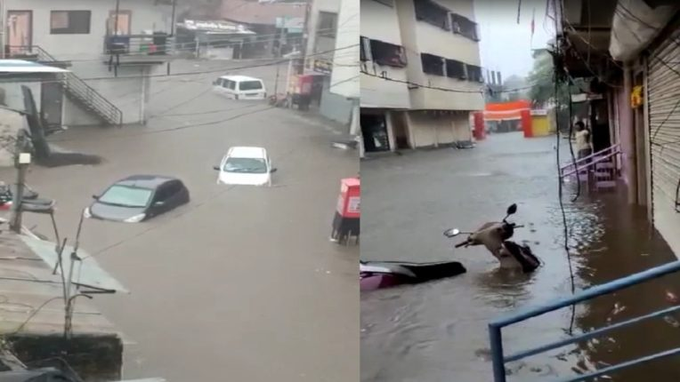 Heavy rains with thunderstorms in Ahmednagar and Nashik; Vehicles, markets submerged