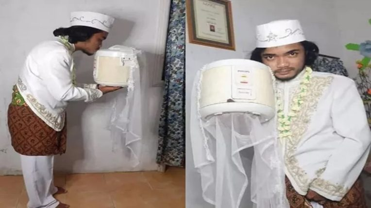 इंडोनेशिया : कुकरसोबत केलं भावाने लग्न, फोटो झाले व्हायरल, काही वेळातच काडीमोडही घेतला